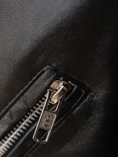 Mens Black Classic Biker Leather Jacket - Zip - Picton