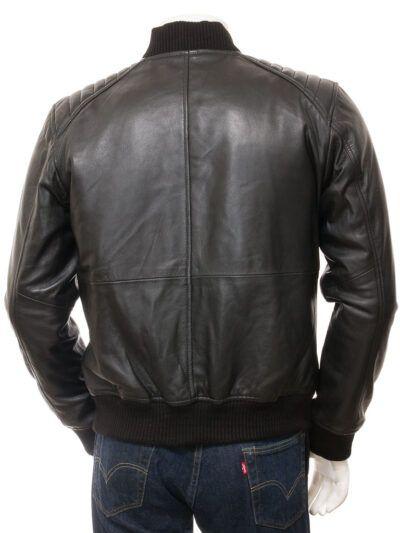 Mens Black Leather Bomber Jacket - Back - Whitby