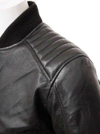 Mens Black Leather Bomber Jacket - Shoulder - Whitby