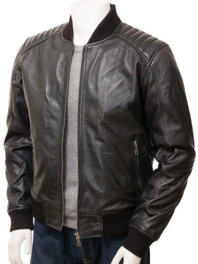 Mens Black Leather Bomber Jacket - Whitby
