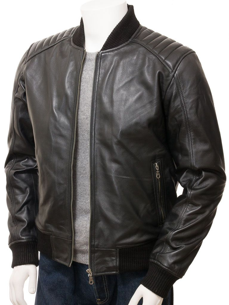 Men's Black Leather Bomber Jacket: Whitby