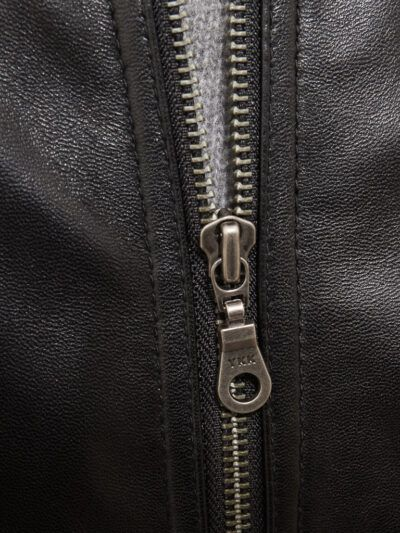 Mens Black Leather Bomber Jacket - Zip - Whitby