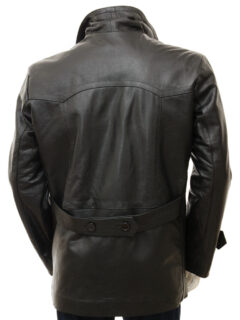 Men's Black Leather Peacoat: Weston