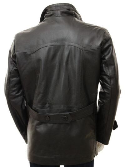 Mens Black Leather Peacoat - Back - Weston