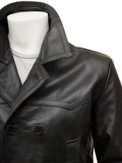 Mens Black Leather Peacoat - Close - Weston
