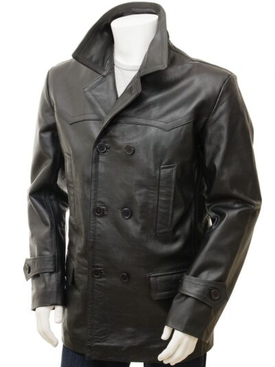 Mens Black Leather Peacoat - Front - Weston