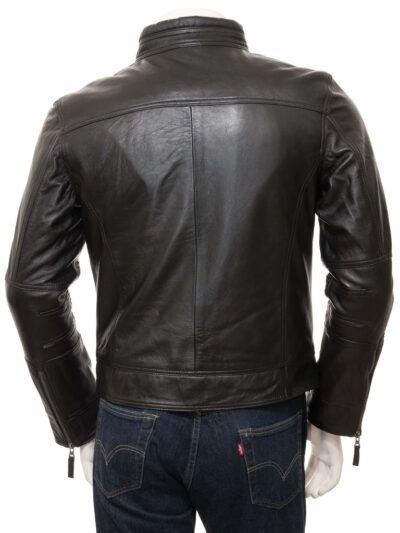 Mens Black Motorcycle Leather Jacket - Back - Seddon