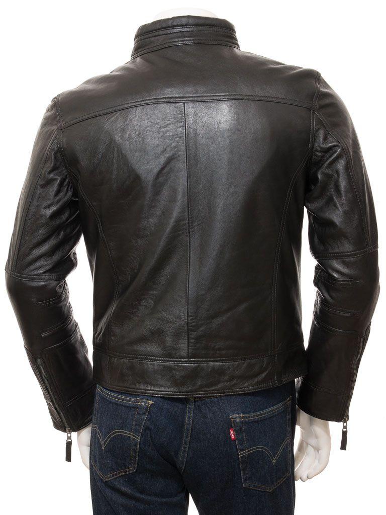 Men's Black Motorcycle Leather Jacket: Seddon