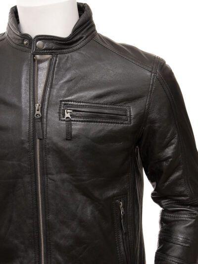 Mens Black Motorcycle Leather Jacket - Front Closer - Seddon