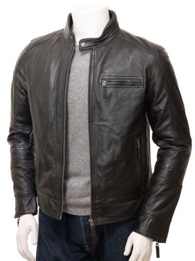 Mens Black Motorcycle Leather Jacket - Front Open - Seddon