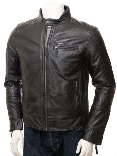 Mens Black Motorcycle Leather Jacket - Front - Seddon