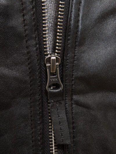 Mens Black Motorcycle Leather Jacket - Zip - Seddon