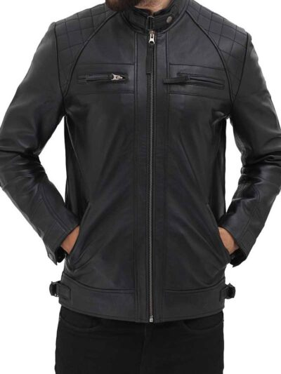 Mens Black Quilted Biker Leather Jacket - Front Close -Renwick