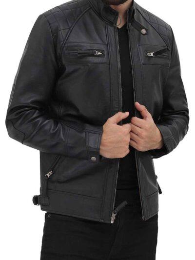 Mens Black Quilted Biker Leather Jacket - Front -Renwick