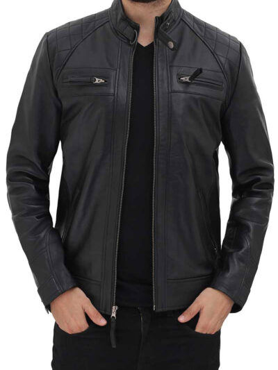 Mens Black Quilted Biker Leather Jacket - Renwick