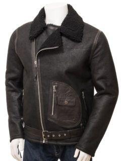 Men's Black Shearling Aviator Leather Jacket: Mamaku