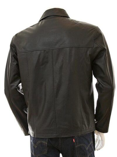 Mens Black Shirt Collar Biker Leather Jacket - Back - Nelson