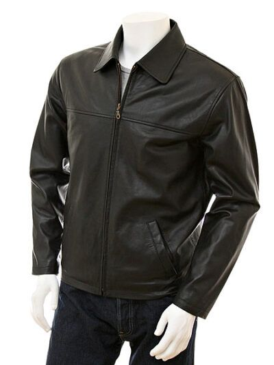 Mens Black Shirt Collar Biker Leather Jacket - Front - Nelson