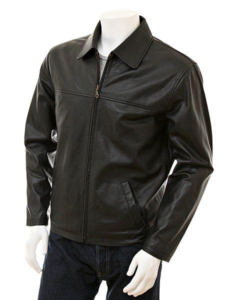 Mens Black Shirt Collar Biker Leather Jacket - Front - Nelson