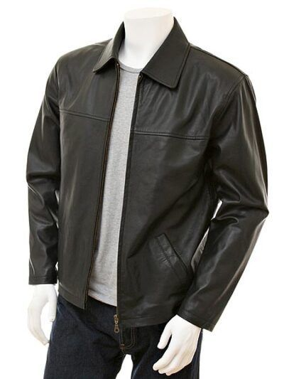 Mens Black Shirt Collar Biker Leather Jacket - Nelson