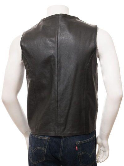Mens Black Simple Leather Waistcoat - Back - Doyleston