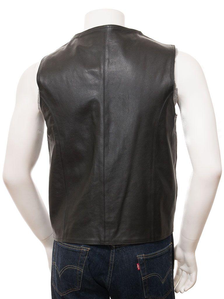 Men's Black Simple Leather Waistcoat: Doyleston