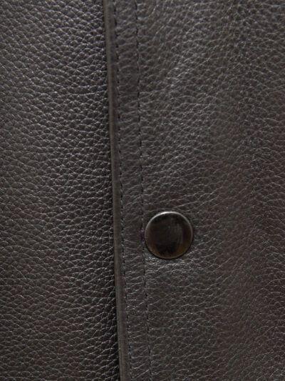 Mens Black Simple Leather Waistcoat - Button - Doyleston
