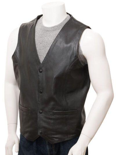 Mens Black Simple Leather Waistcoat - Doyleston