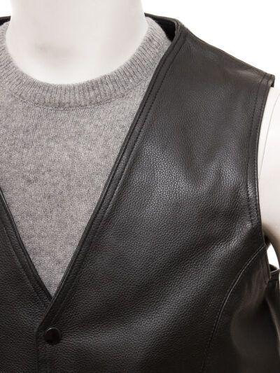 Mens Black Simple Leather Waistcoat - Front - Doyleston