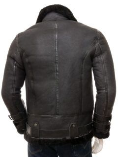 Men's Black Stand Collar Aviator Leather Jacket: Mimi