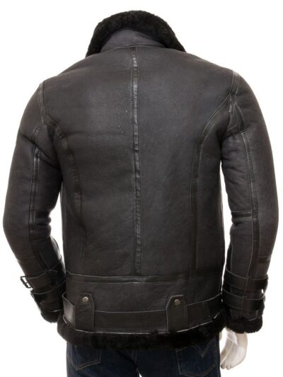 Mens Black Stand Collar Aviator Leather Jacket - Back - Mimi