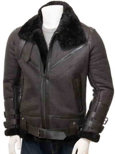Mens Black Stand Collar Aviator Leather Jacket - Front Close - Mimi