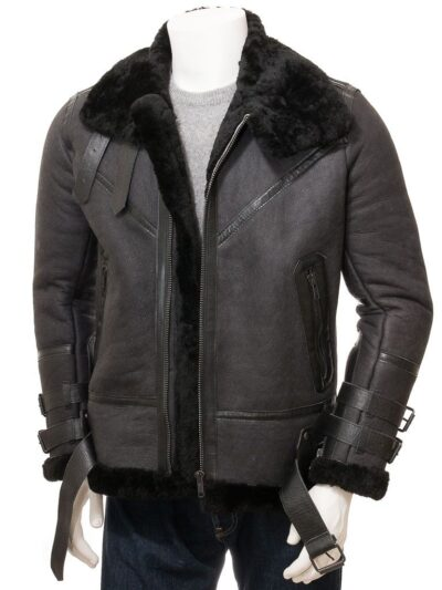 Mens Black Stand Collar Aviator Leather Jacket - Front Open - Mimi
