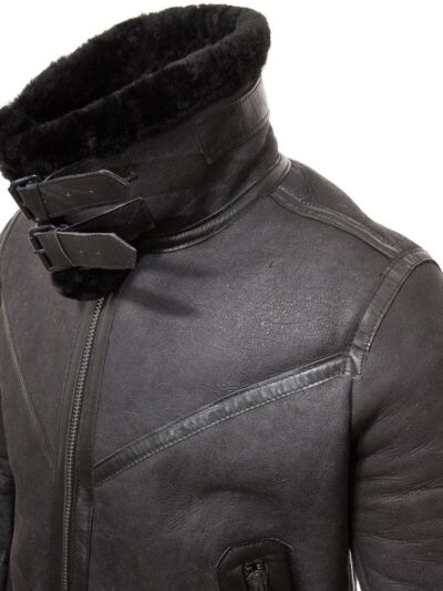 Mens Black Stand Collar Aviator Leather Jacket - Stand Collar - Mimi