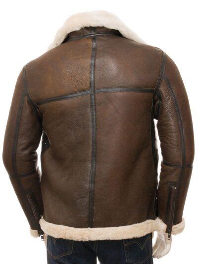 Mens Brown Aviator Leather Jacket - Back - Moana