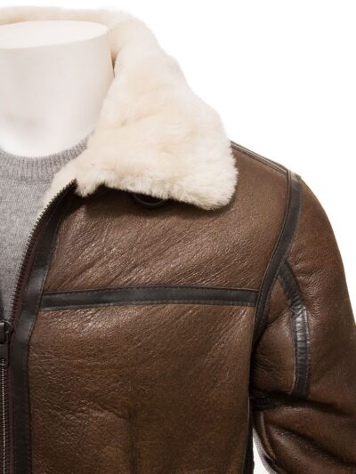 Mens Brown Aviator Leather Jacket - Front Closer - Moana