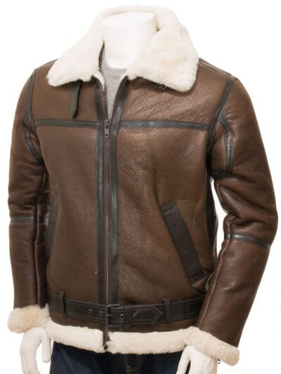 Mens Brown Aviator Leather Jacket - Front - Moana