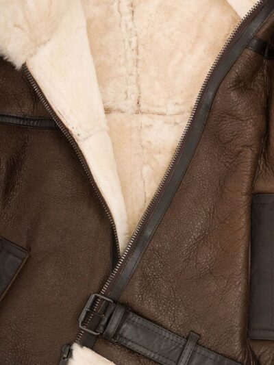 Mens Brown Aviator Leather Jacket - Inner Lining - Moana