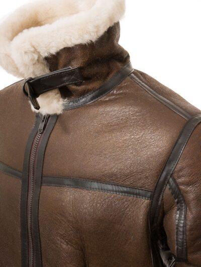 Mens Brown Aviator Leather Jacket - Shoulder - Moana