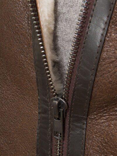 Mens Brown Aviator Leather Jacket - Zip - Moana