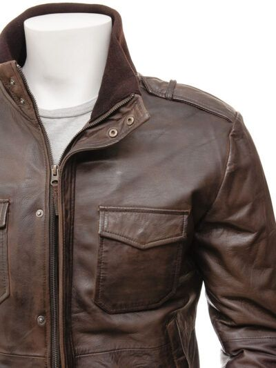 Mens Brown Bomber Leather Jacket - Closer - Poroti