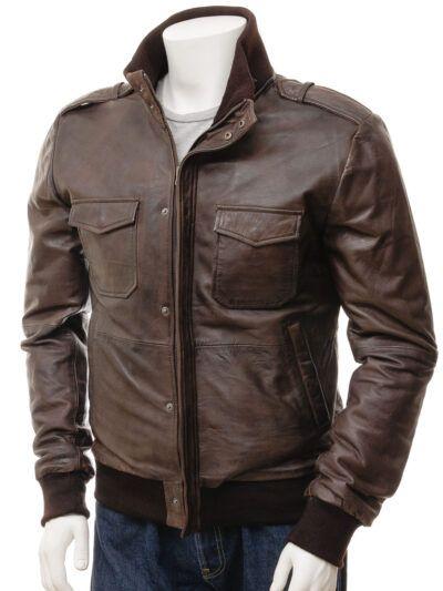 Mens Brown Bomber Leather Jacket - Front - Poroti