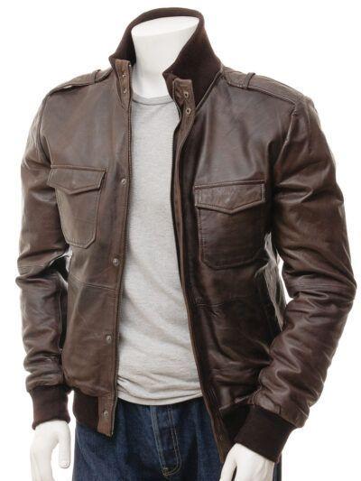 Mens Brown Bomber Leather Jacket - Poroti
