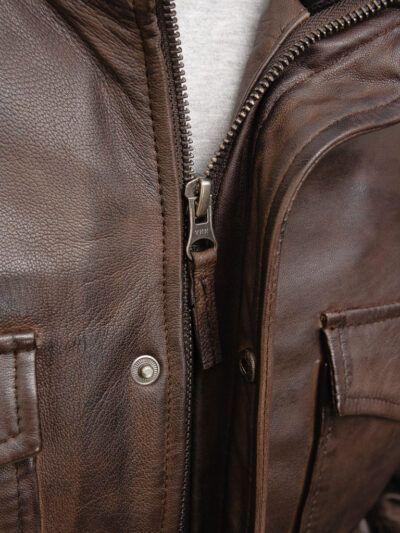 Mens Brown Bomber Leather Jacket - Zip - Poroti