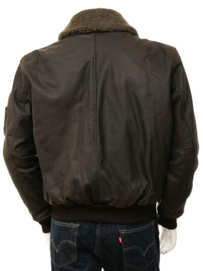Mens Brown Detachable Collar Aviator leather Jackets - Back - Russell