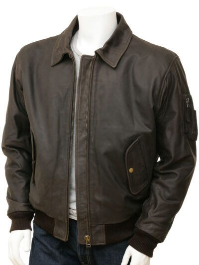 Mens Brown Detachable Collar Aviator leather Jackets - Front - Russell