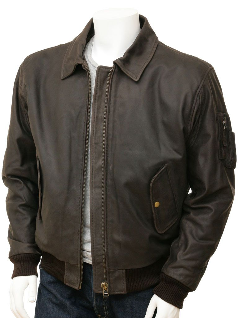 Men's Brown Detachable Collar Aviator leather Jackets: Russell