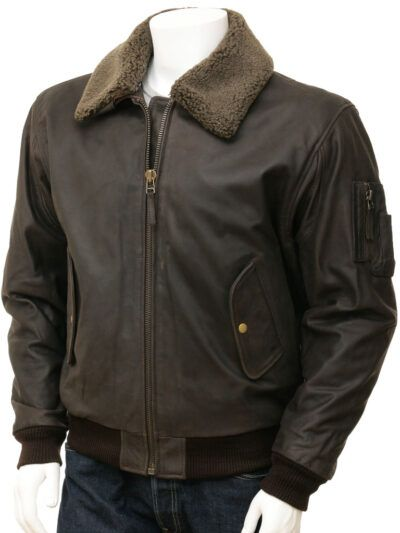 Mens Brown Detachable Collar Aviator leather Jackets - Russell