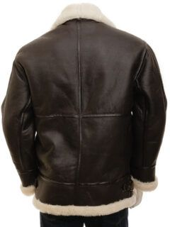 Men's Brown Ginger Aviator Leather Jacket: Milton
