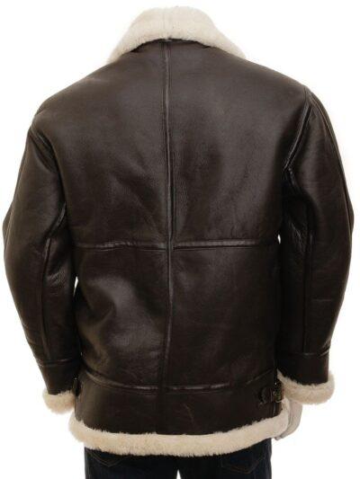 Mens Brown Ginger Aviator Leather Jacket - Back - Milton